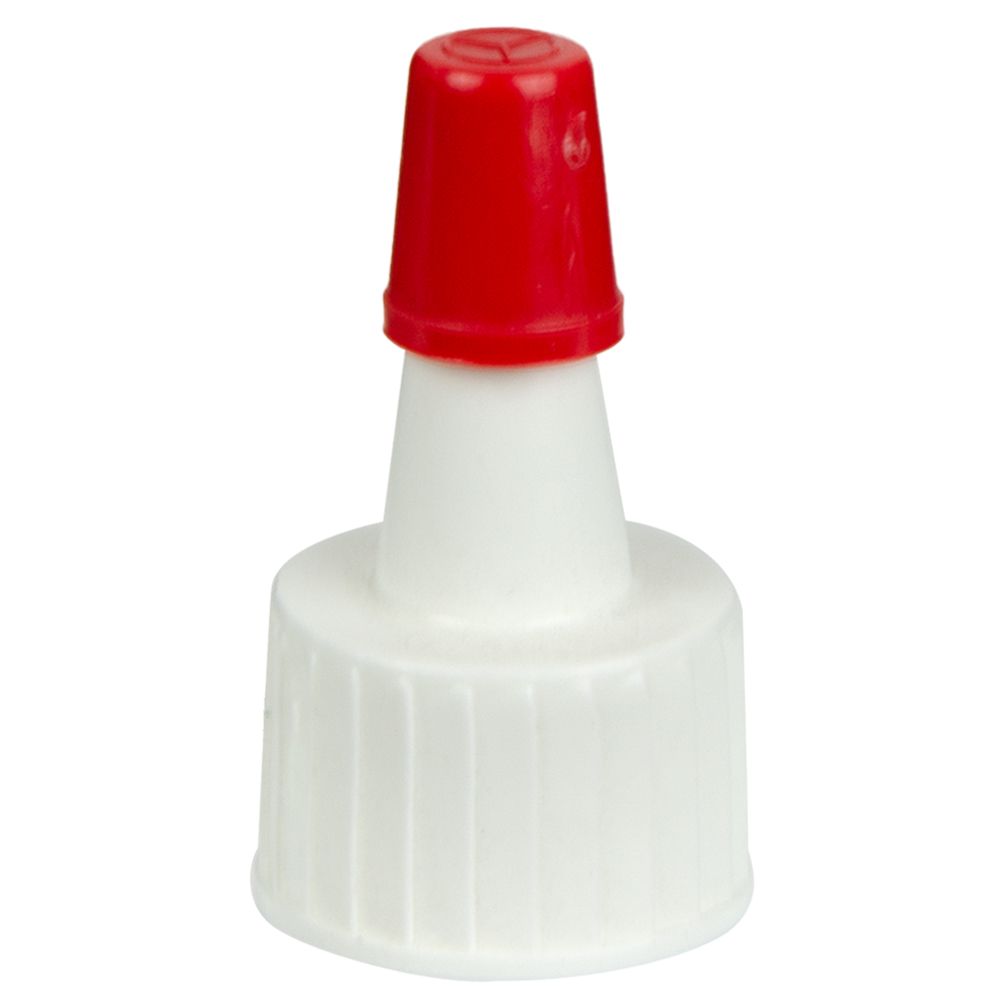 White Yorker Spout Caps with Regular Red Tips