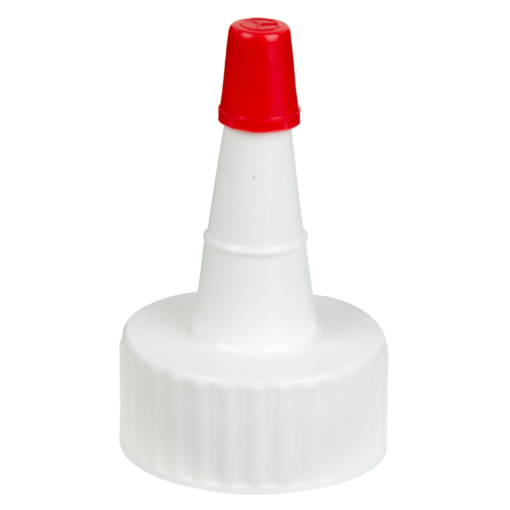 24/400 White Yorker Spout Cap with Regular Red Tip
