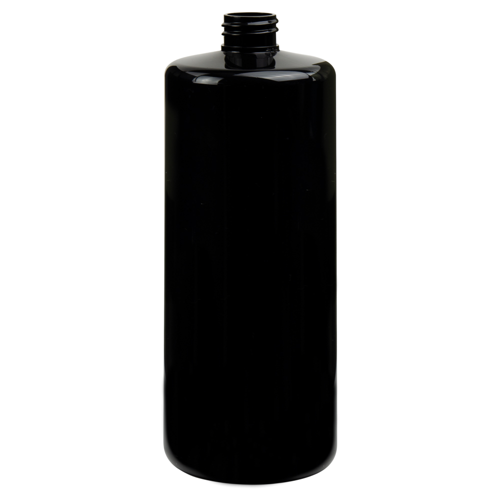 32 oz. Black PET Cylinder Bottle with 28/410 Neck (Cap Sold Separately)