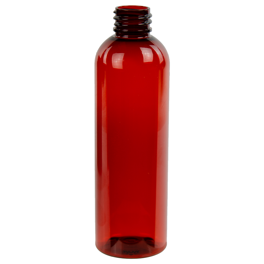 4 oz. Red Amber PET Cosmo Round Bottle with 20/410 Neck (Cap Sold Separately)