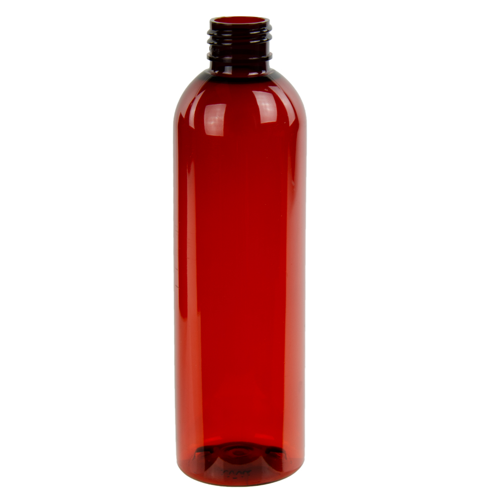 8 oz. Red Amber PET Cosmo Round Bottle with 24/410 Neck (Cap Sold Separately)
