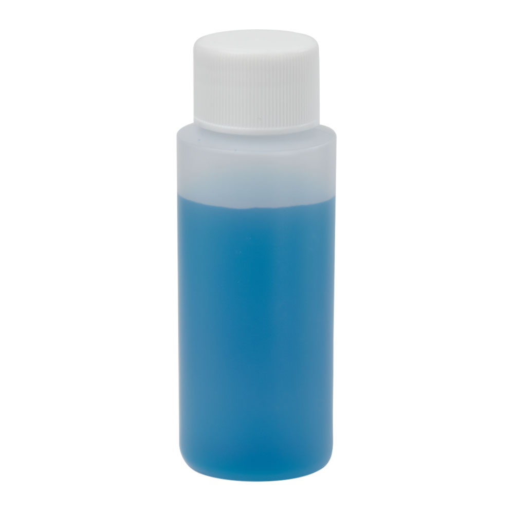 2 oz. Natural HDPE Cylindrical Sample Bottle with 24/410 Plain Cap