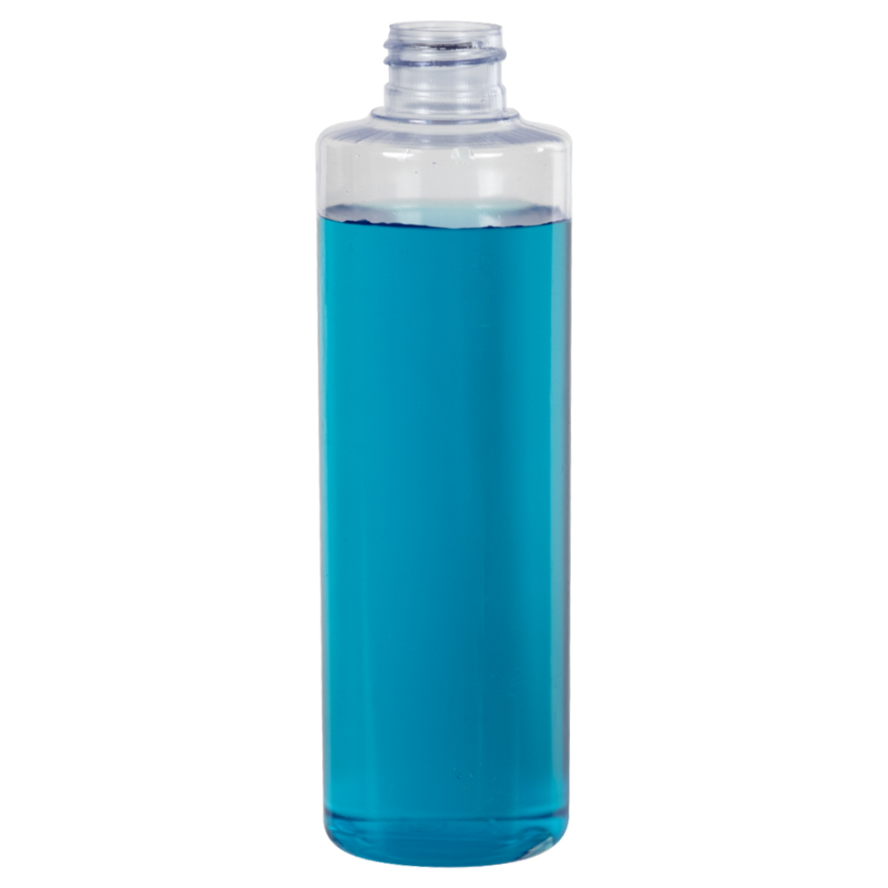 8 oz. Clear PVC Cynlinder Bottle with 24/410 Neck (Cap Sold Separately)