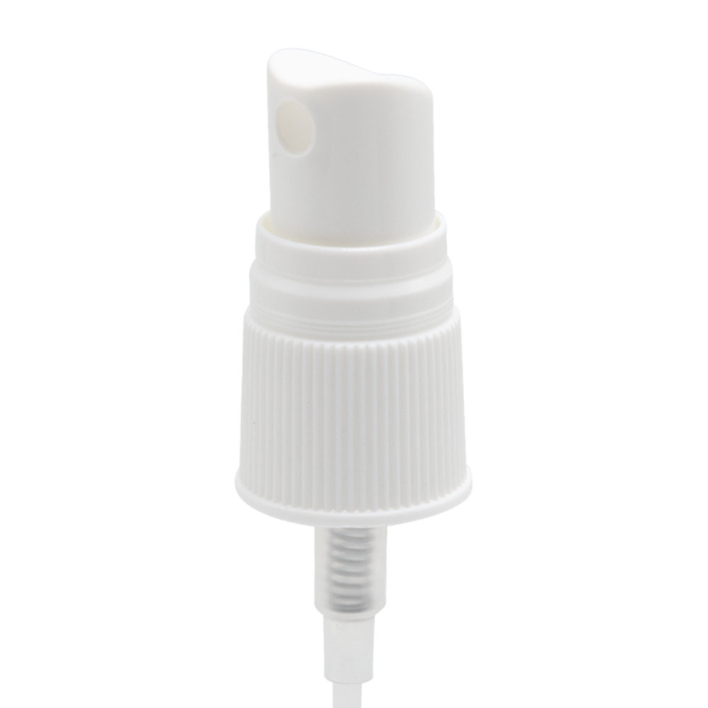 "18/415 White Ribbed Finger Sprayer - 4-5/8"" Dip Tube & .16mL Output"