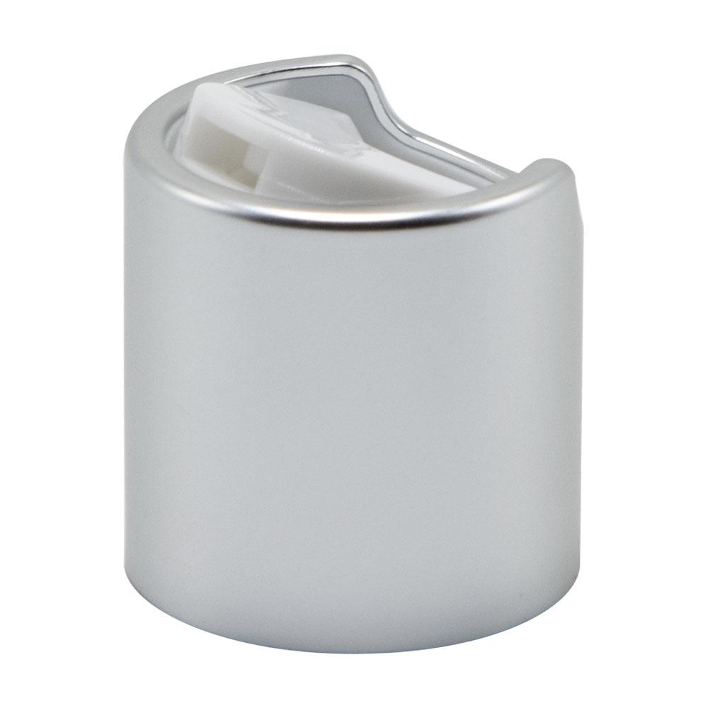 20/410 Brushed Silver & White Disc Dispensing Cap