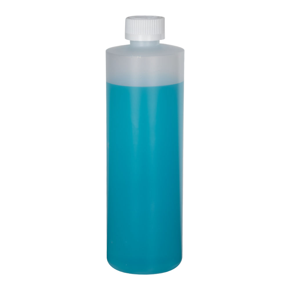 16 oz. Natural HDPE Cylindrical Sample Bottle with 24/400 CRC Cap