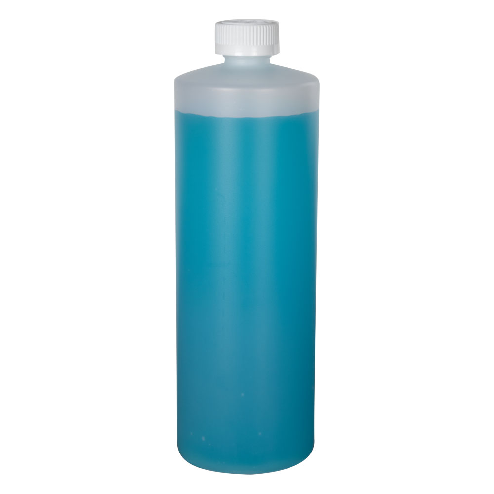 32 oz. Natural HDPE Cylindrical Sample Bottle with 28/400 CRC Cap