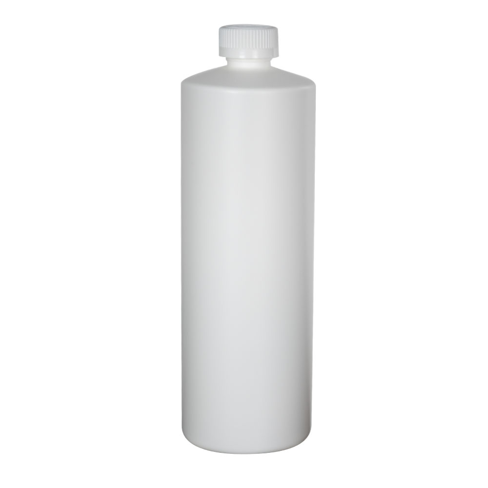 32 oz. White HDPE Cylindrical Sample Bottle with 28/400 CRC Cap