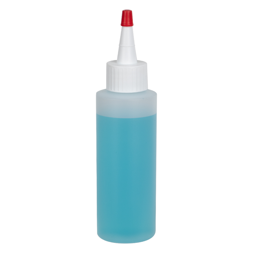 4 oz. Natural HDPE Cylindrical Sample Bottle with 24/410 White Yorker Cap