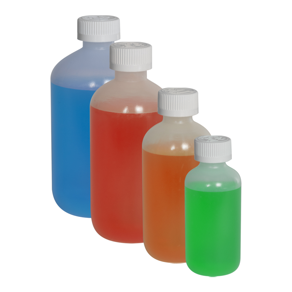 LDPE Boston Round Bottles with CRC Caps