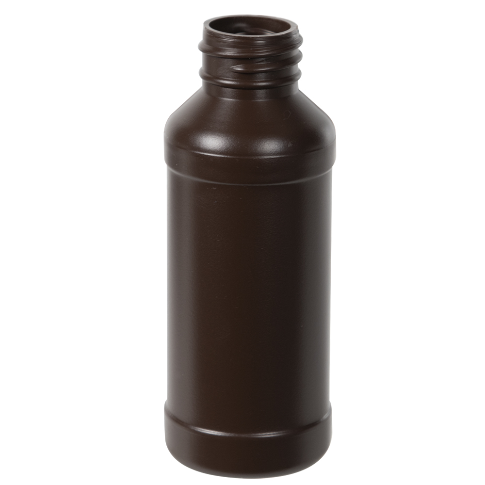 4 oz. Brown HDPE Modern Round Bottle with 28/410 Neck (Cap Sold Separately)