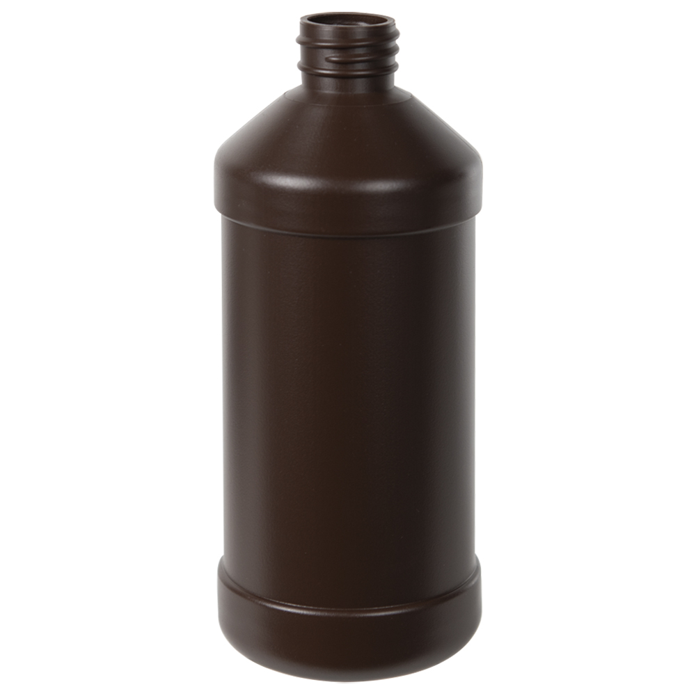 16 oz. Brown Modern Round Bottle with 28/410 Neck (Cap Sold Separately)