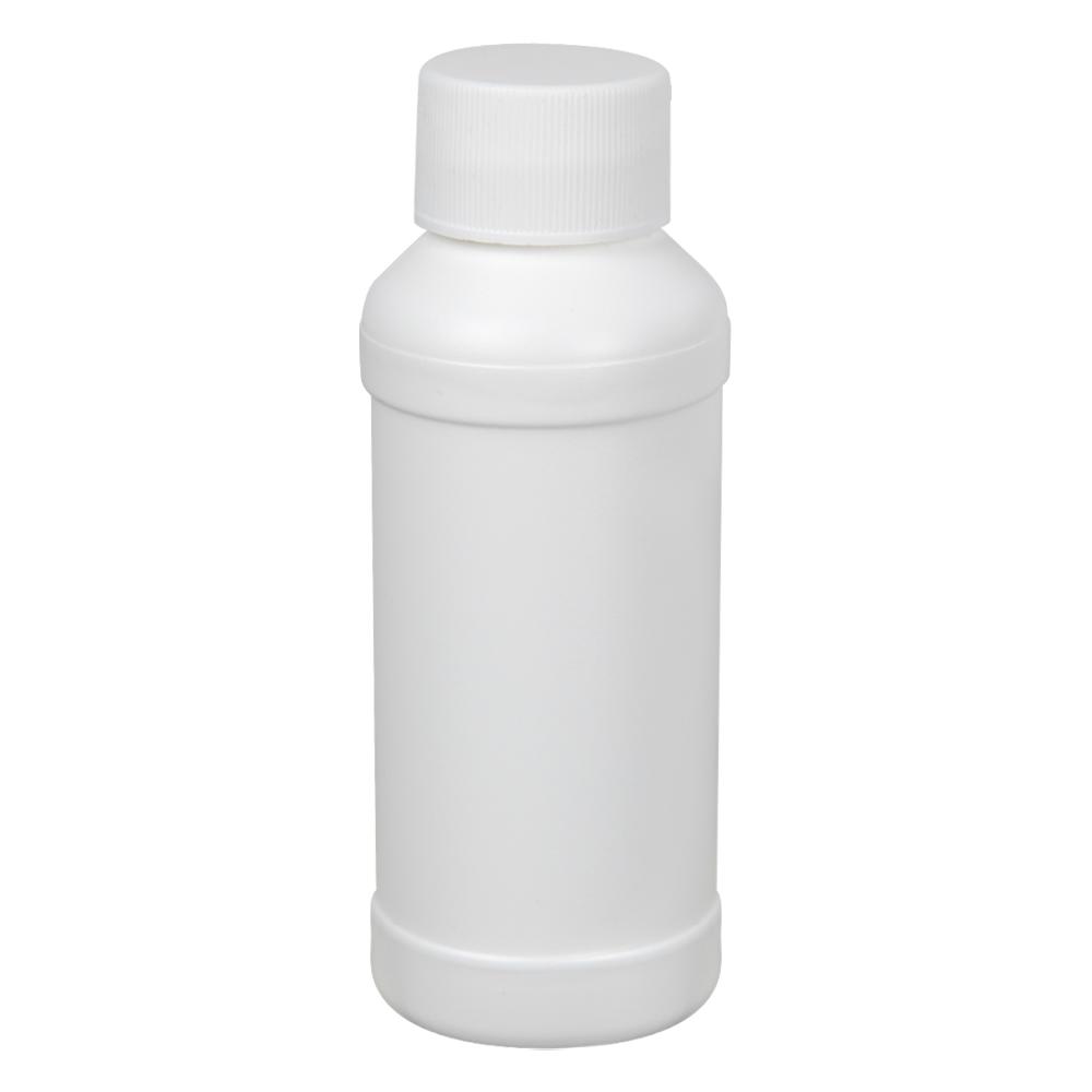 4 oz. White HDPE Modern Round Bottle with 28/410 Plain Cap