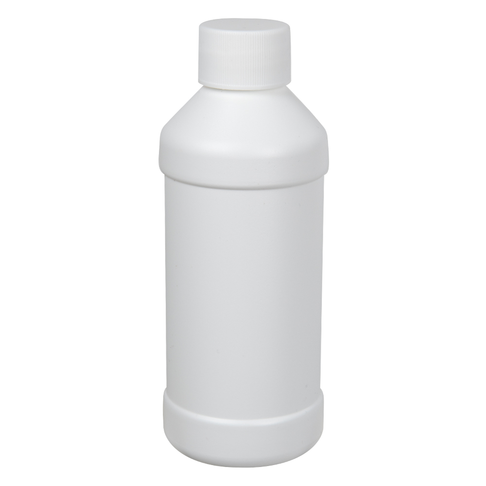 8 oz. White HDPE Modern Round Bottle with 28/410 Plain Cap