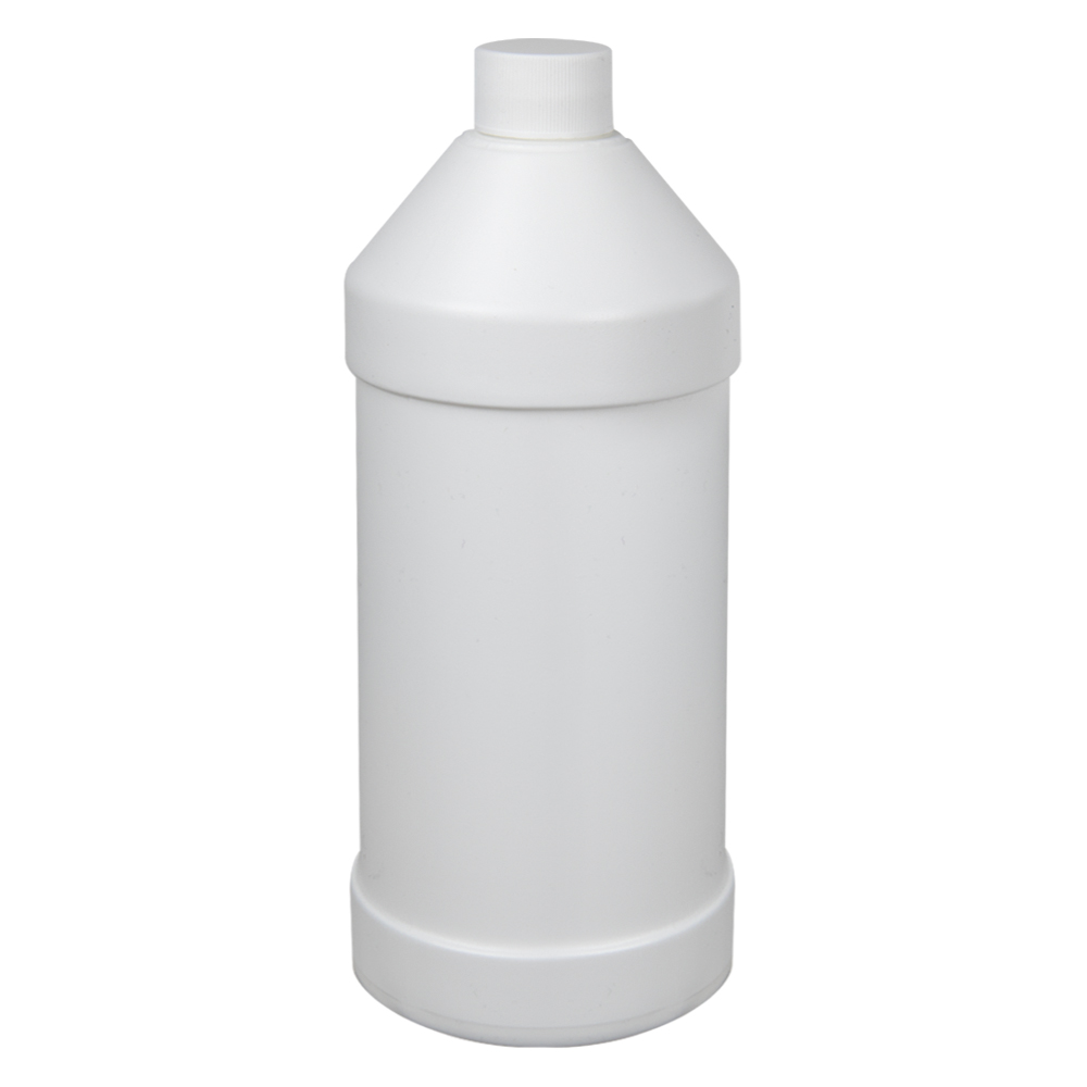 32 oz. White Modern Round Bottle with 28/410 Cap