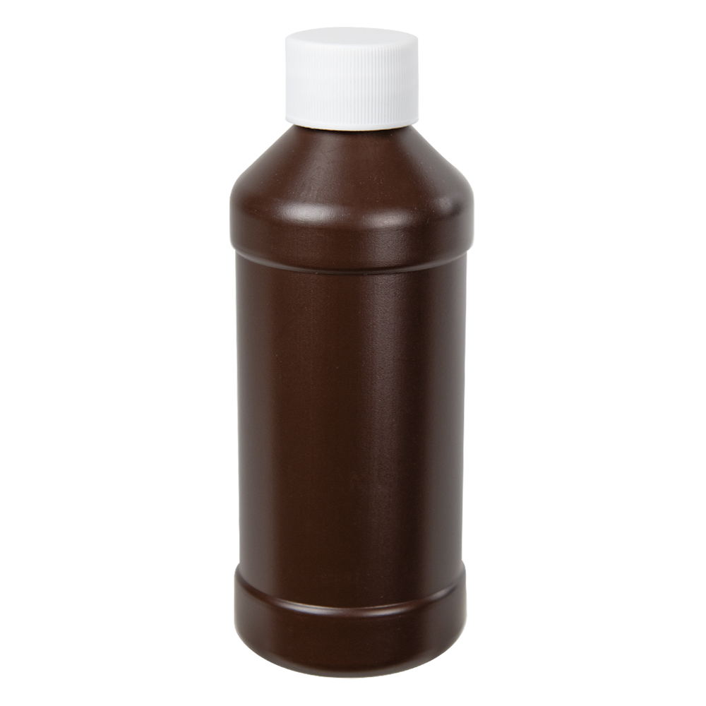 8 oz. Brown Modern Round Bottle with 28/410 Cap