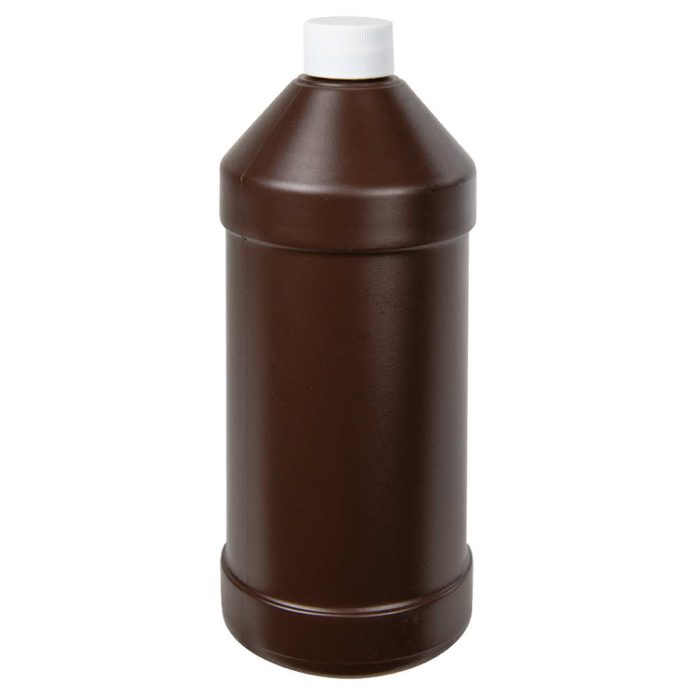 32 oz. Brown HDPE Modern Round Bottle with 28/410 Plain Cap