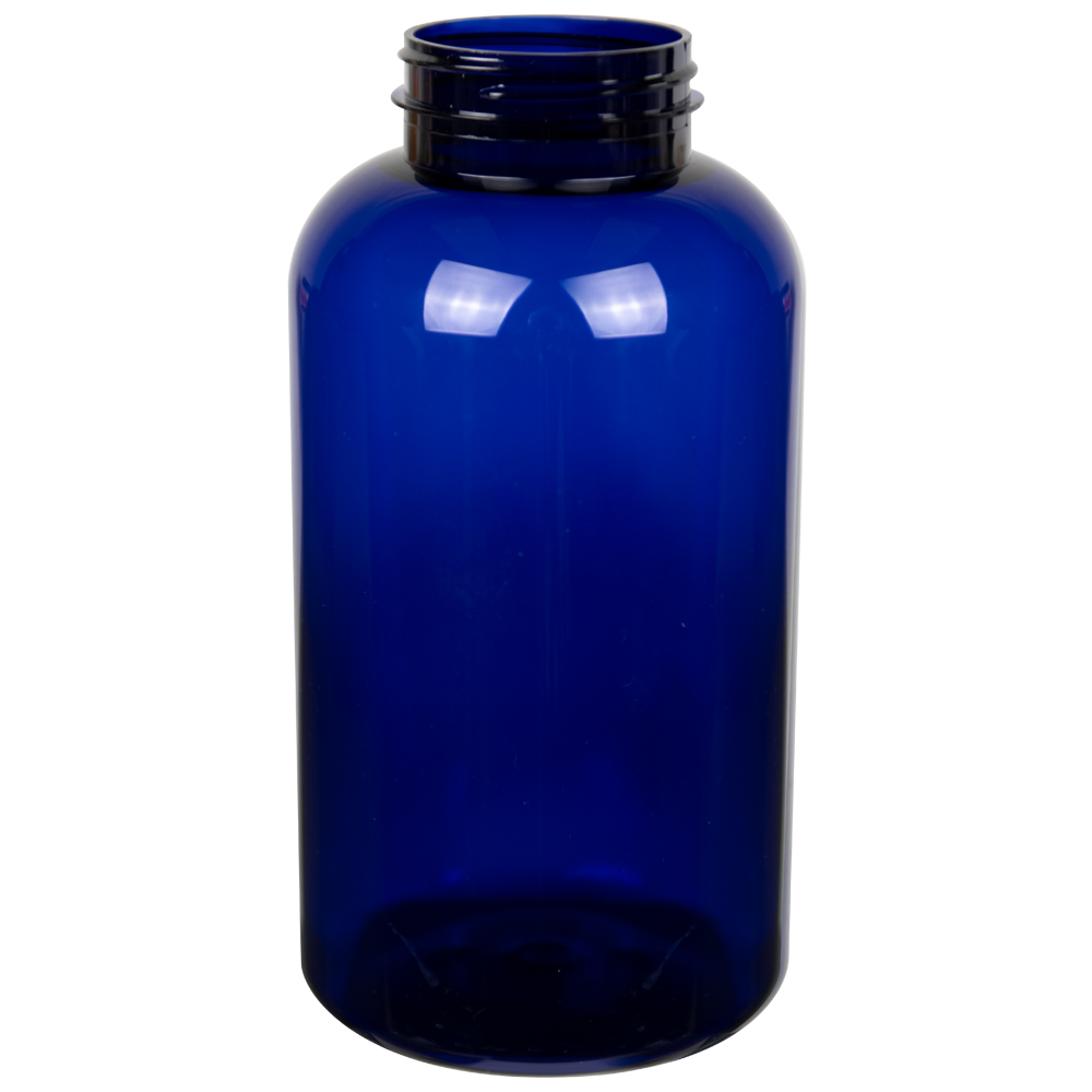 950cc Cobalt Blue PET Packer Bottle with 53/400 Neck (Cap Sold Separately)