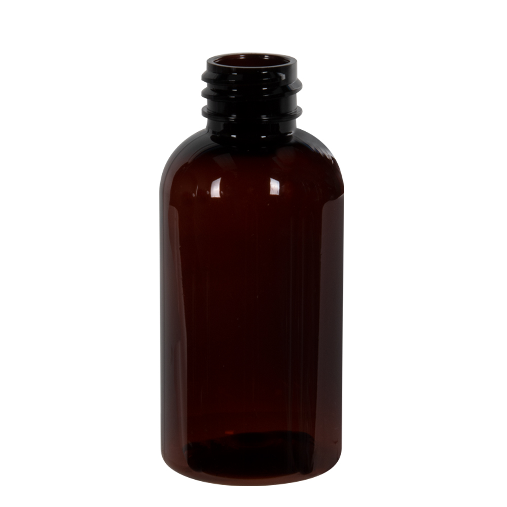2 oz. Light Amber PET Traditional Boston Round Bottle with 20/400 & 410 Neck (Cap Sold Separately)