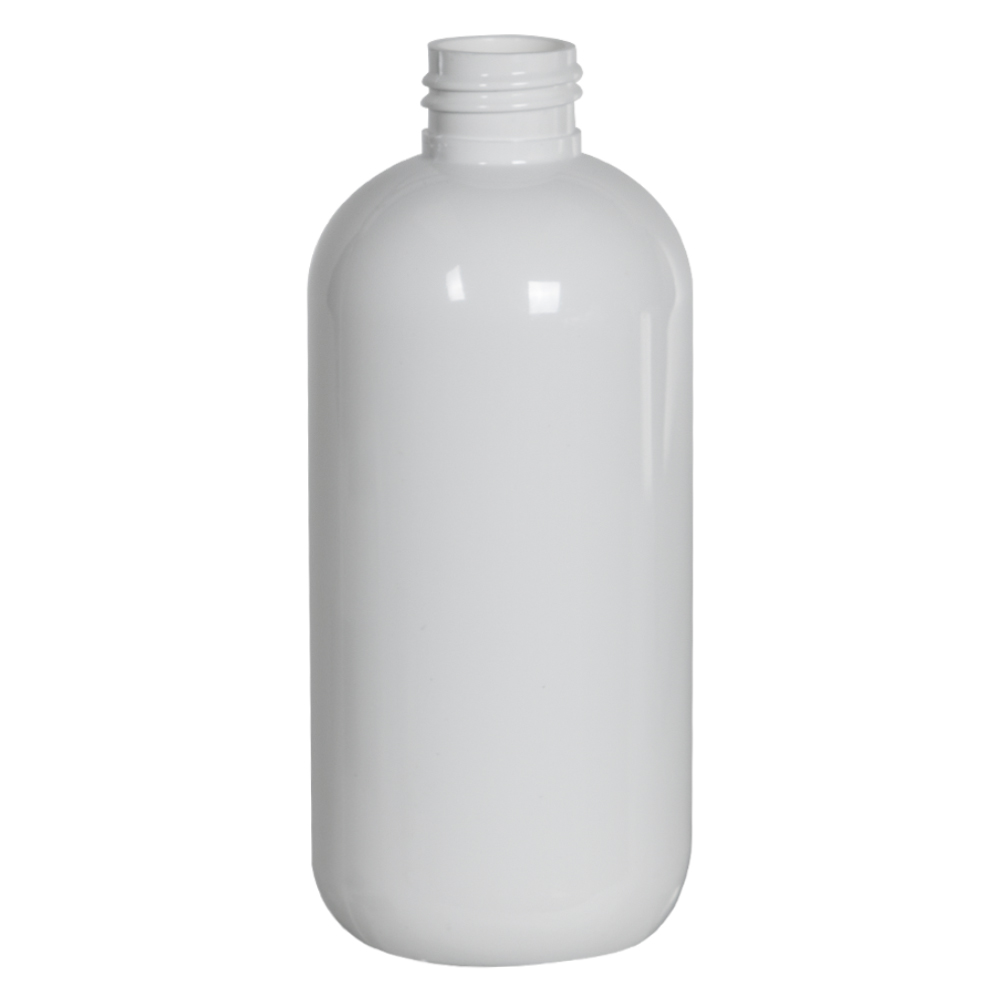 8 oz. White PET Traditional Boston Round Bottle with 24/410 Neck (Cap Sold Separately)