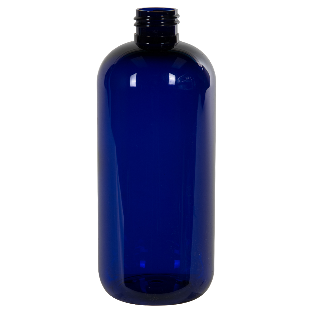 12 oz. Cobalt Blue PET Traditional Boston Round Bottle with 24/410 Neck (Cap Sold Separately)