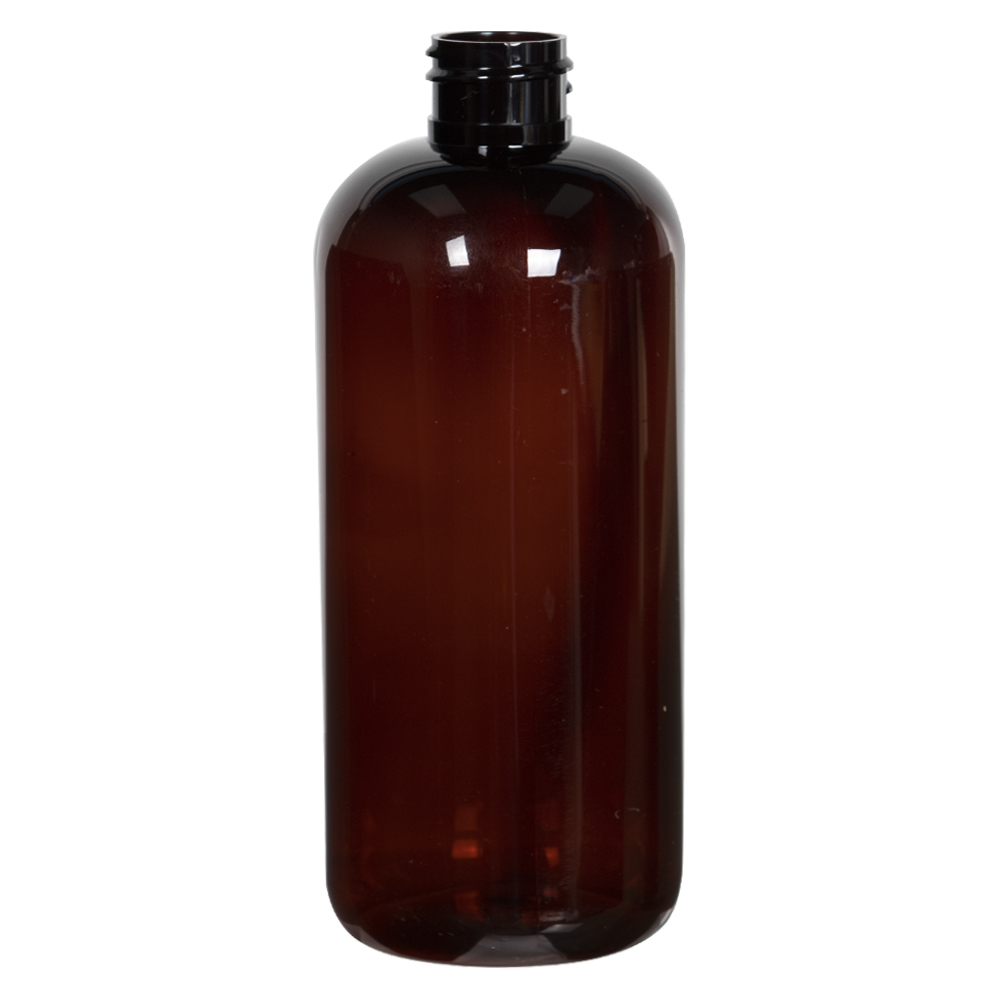 16 oz. Light Amber PET Traditional Boston Round Bottle with 28/410 Neck (Cap Sold Separately)