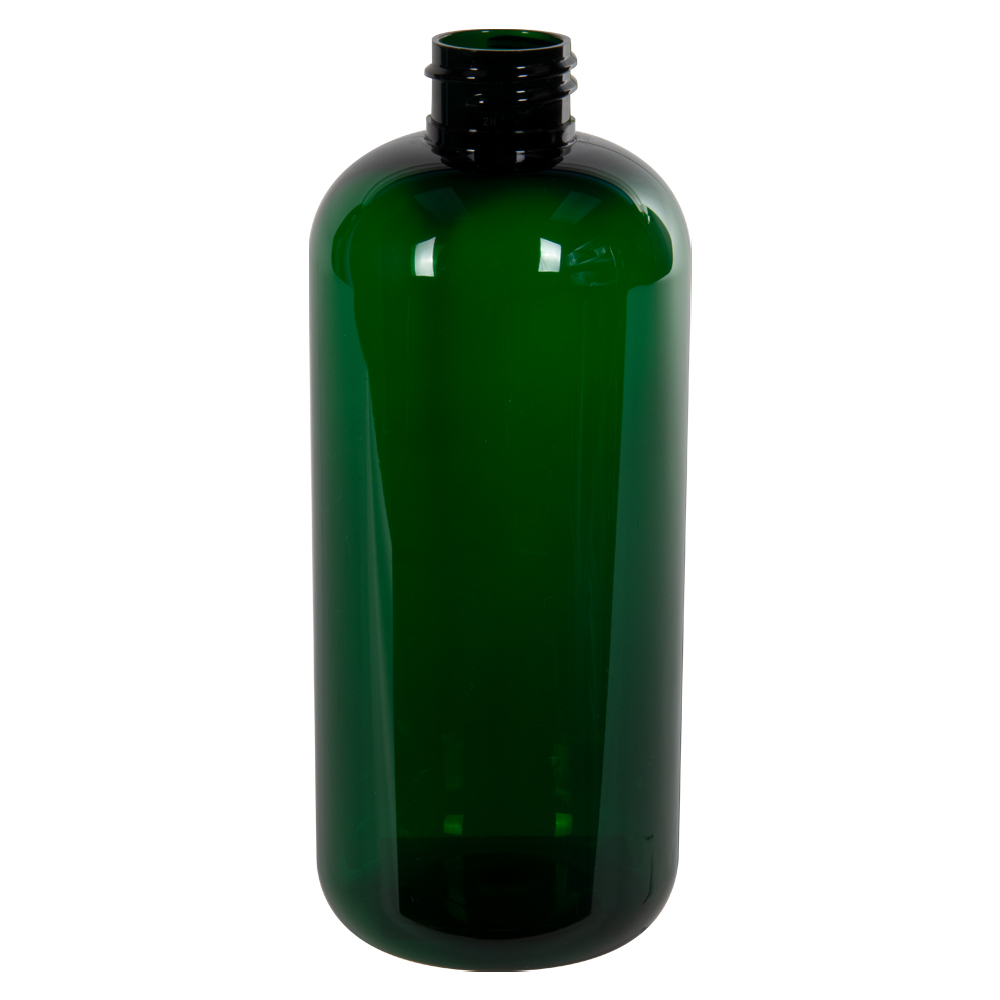 16 oz. Dark Green PET Traditional Boston Round Bottle with 28/410 Neck (Cap Sold Separately)