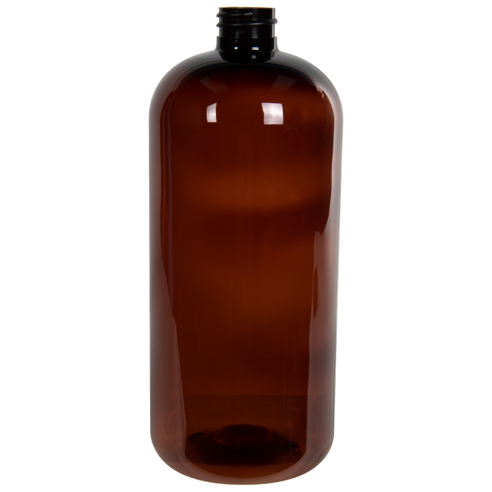 32 oz. Light Amber PET Traditional Boston Round Bottle with 28/410 Neck (Cap Sold Separately)