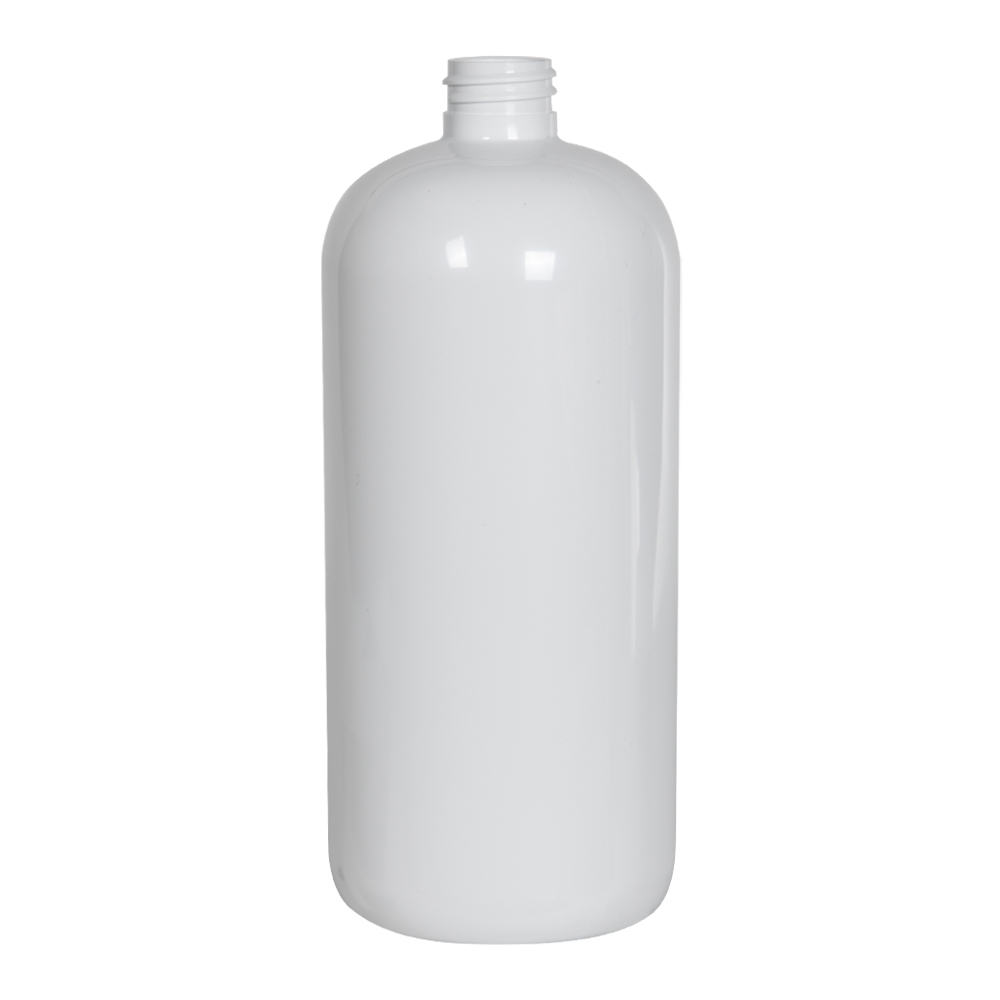32 oz. White PET Traditional Boston Round Bottle with 28/410 Neck (Cap Sold Separately)