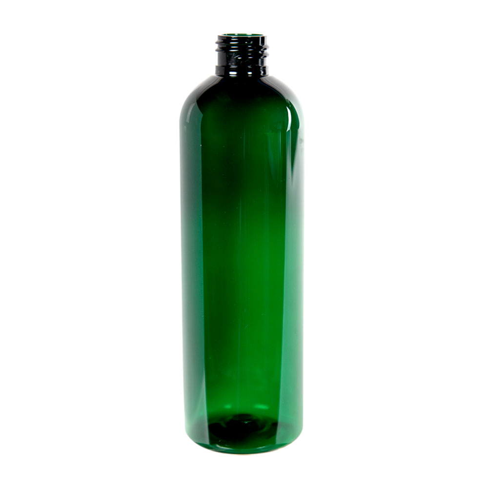 12 oz. Dark Green PET Cosmo Round Bottle with 24/410 Neck (Cap Sold Separately)