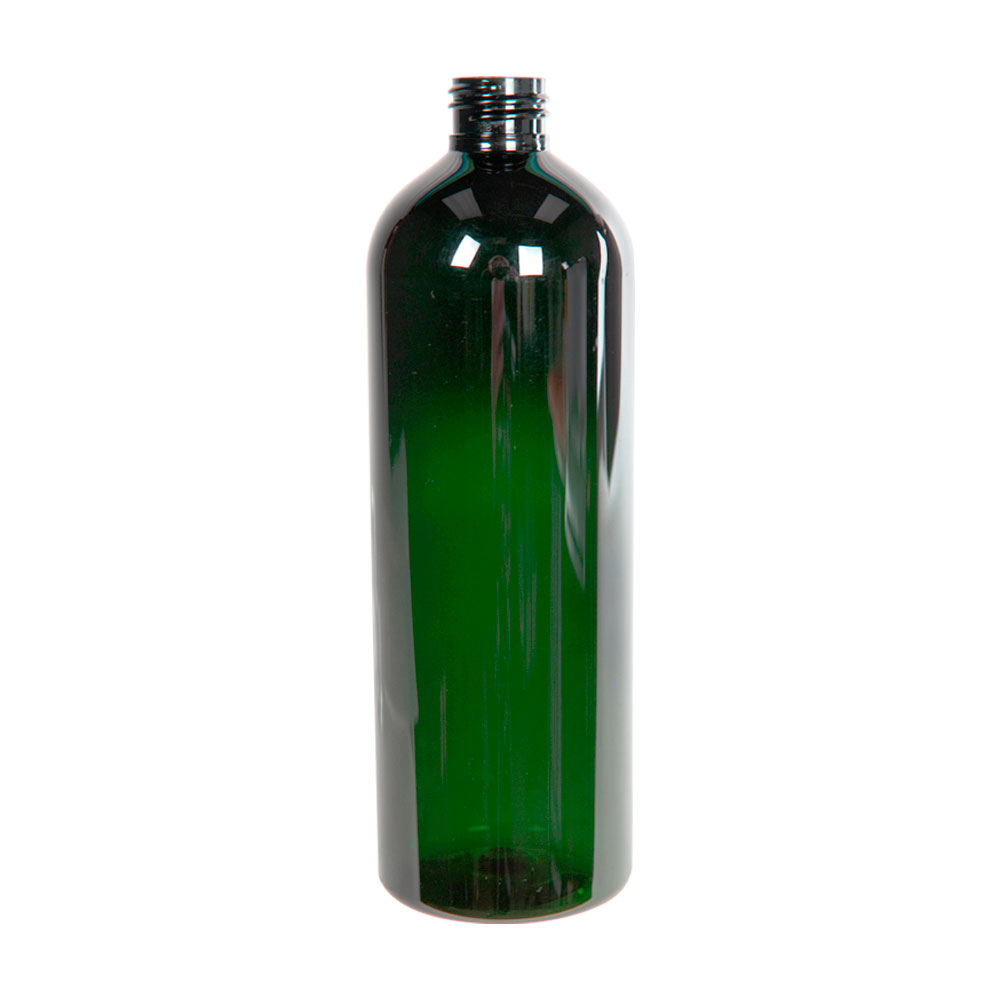 16 oz. Dark Green PET Cosmo Round Bottle with 24/410 Neck (Cap Sold Separately)