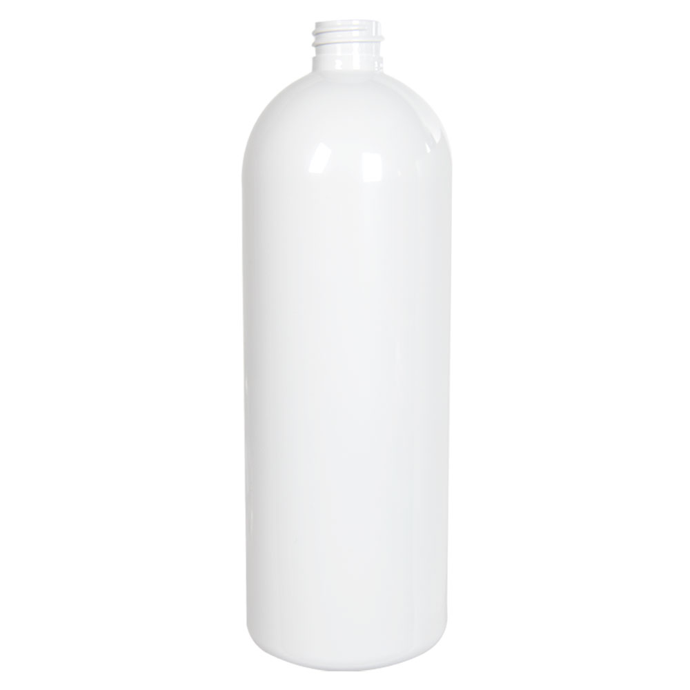 32 oz. White PET Cosmo Round Bottle with 28/410 Neck (Cap Sold Separately)