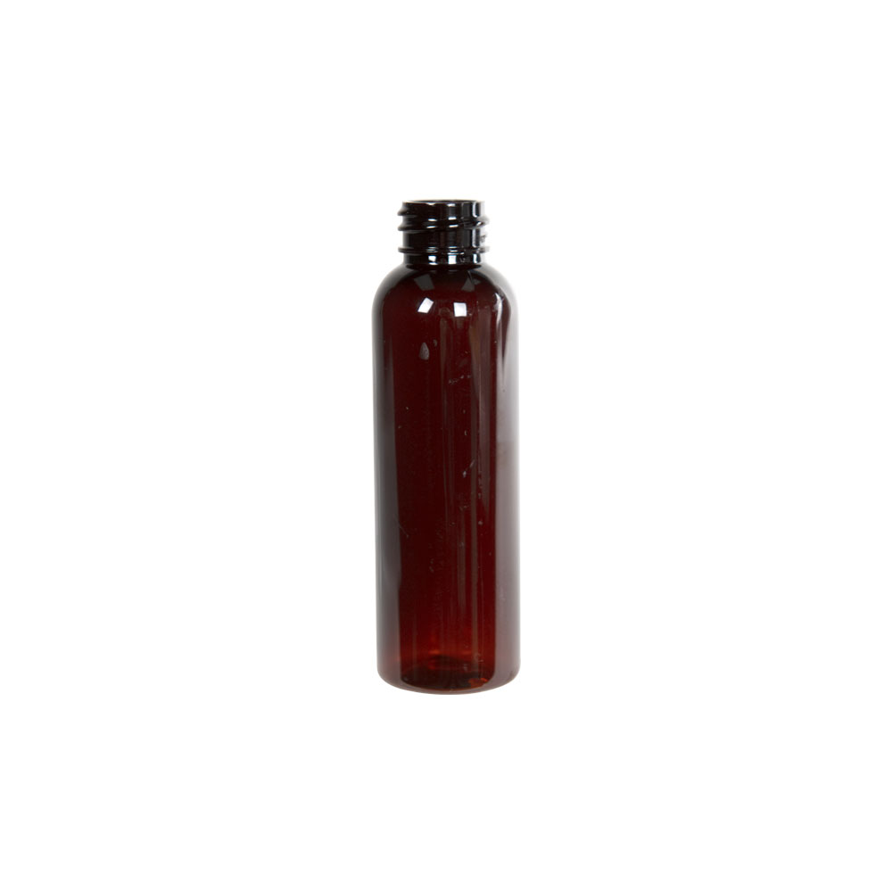 2 oz. Light Amber PET Cosmo Round Bottle with 20/400 Neck (also fits 20/410) (Cap Sold Separately)