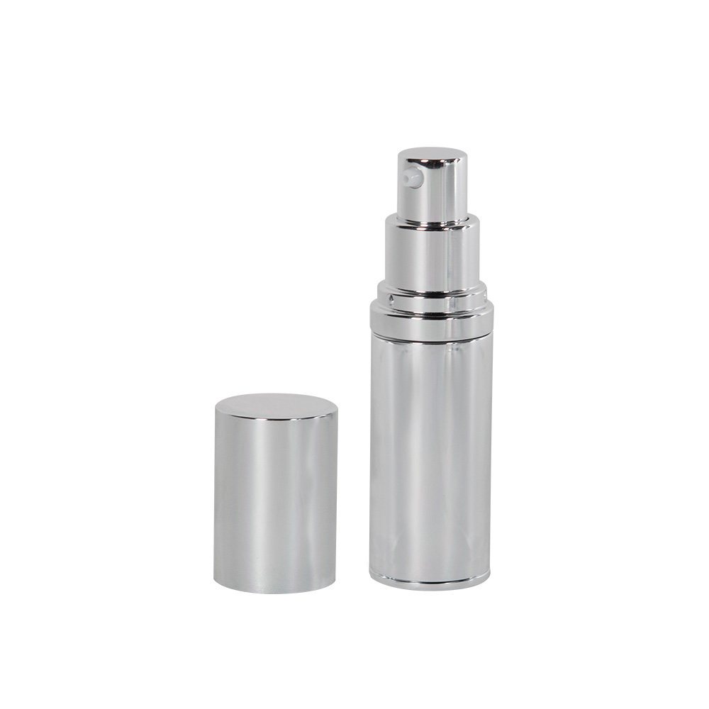 15mL Silver Airless Treatment Bottle with Pump & 18mm Cap