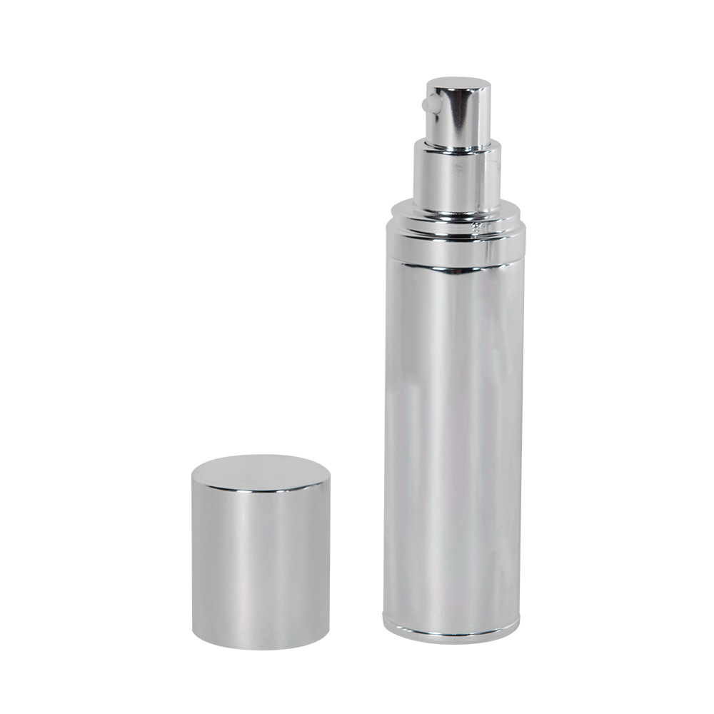 50mL Silver Airless Treatment Bottle with Pump & 18mm Cap