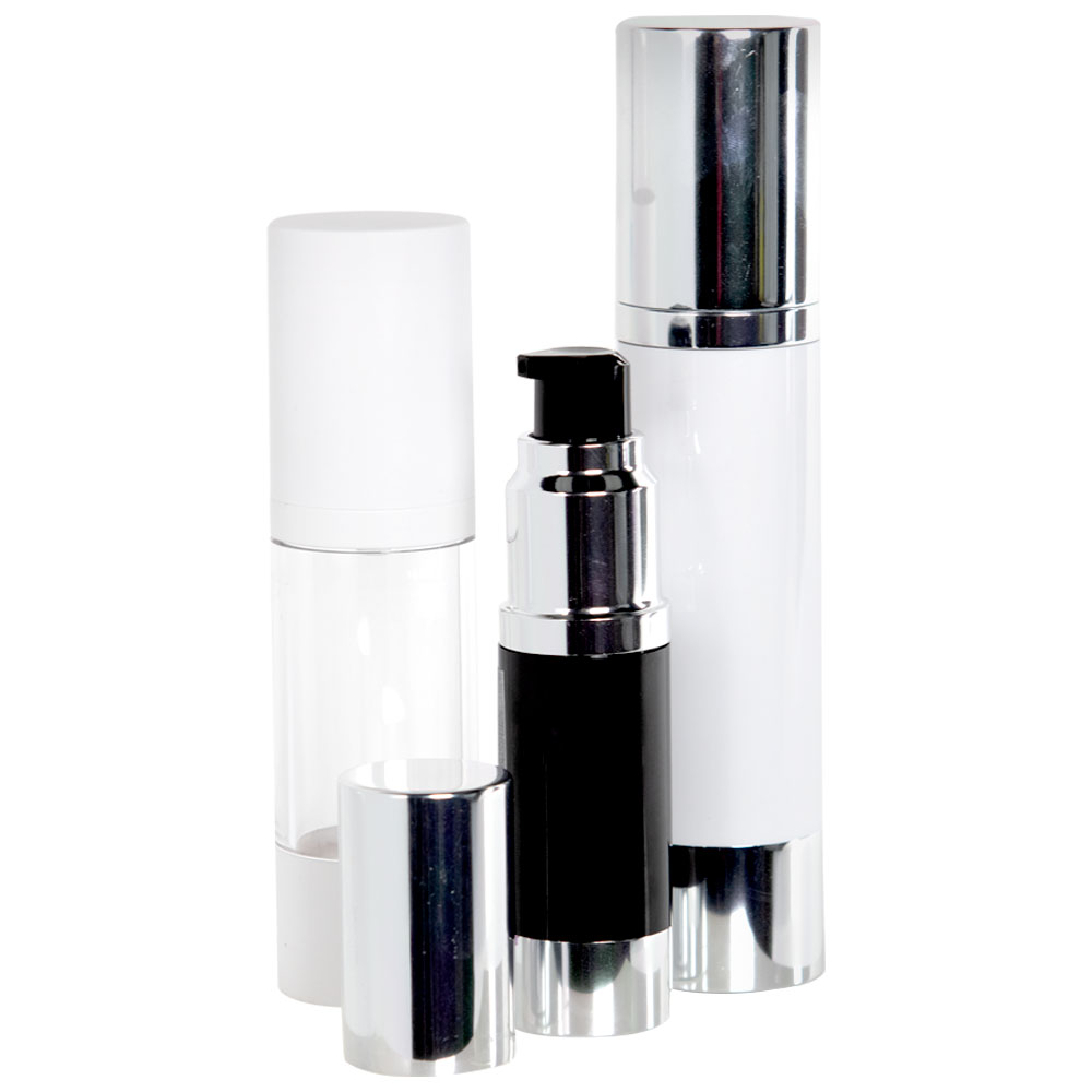 Airless Treatment Bottles with Pumps & Caps
