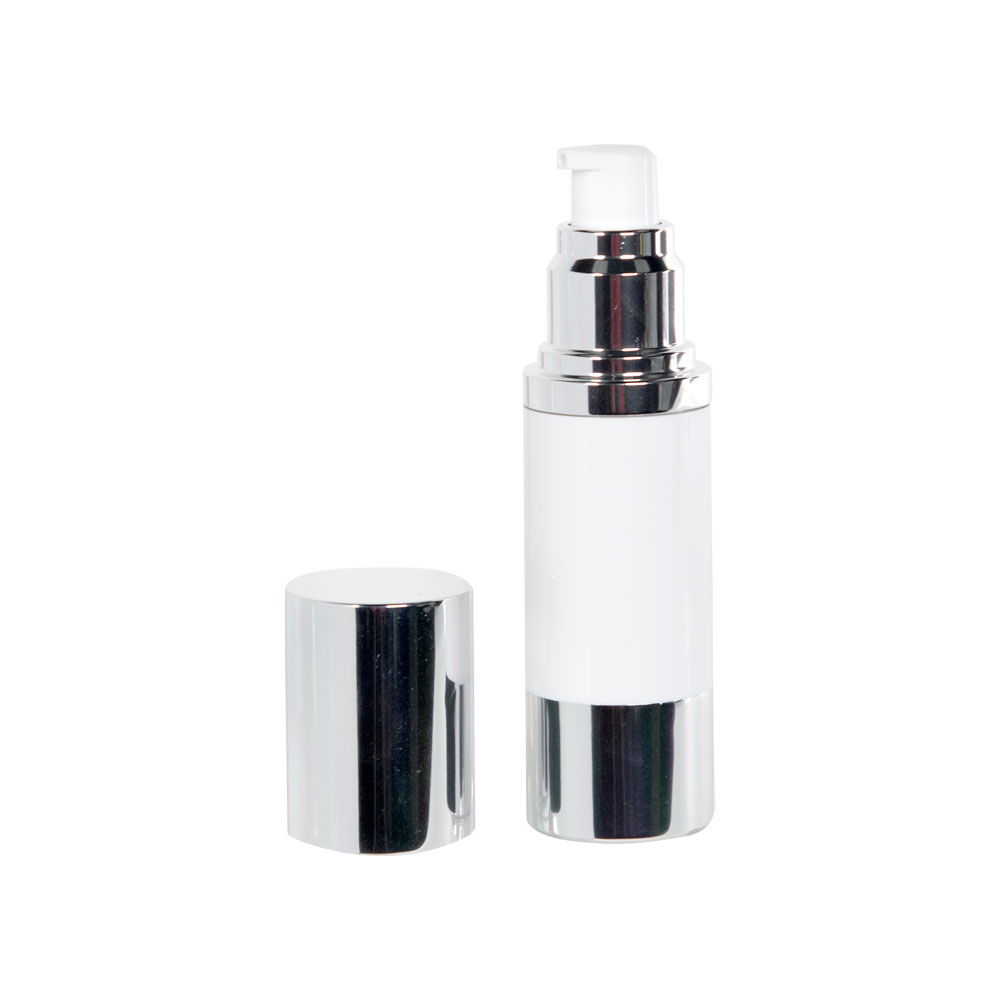 30mL White/Silver Aluminum Airless Treatment Bottle with Pump & Cap