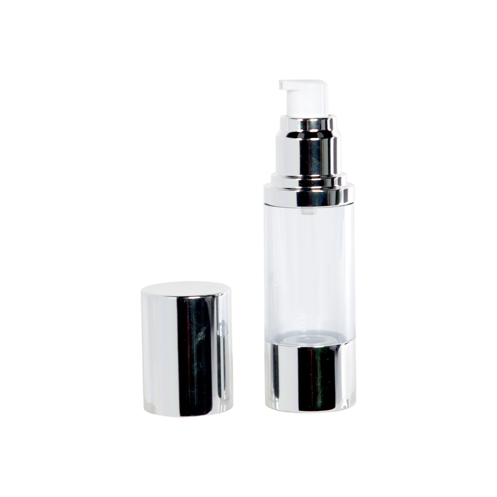 30mL Clear/Silver Aluminum Airless Treatment Bottle with Pump & Cap