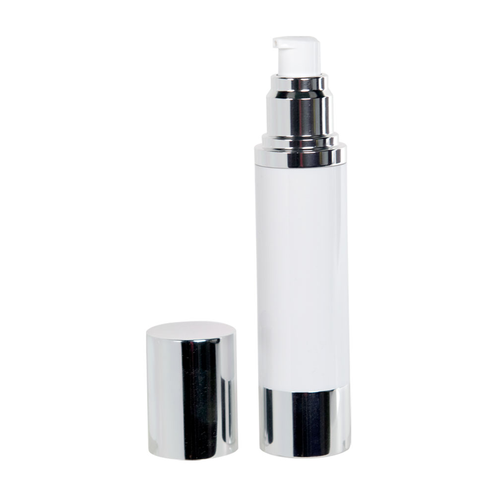 50mL White/Silver Aluminum Airless Treatment Bottle with Pump & Cap