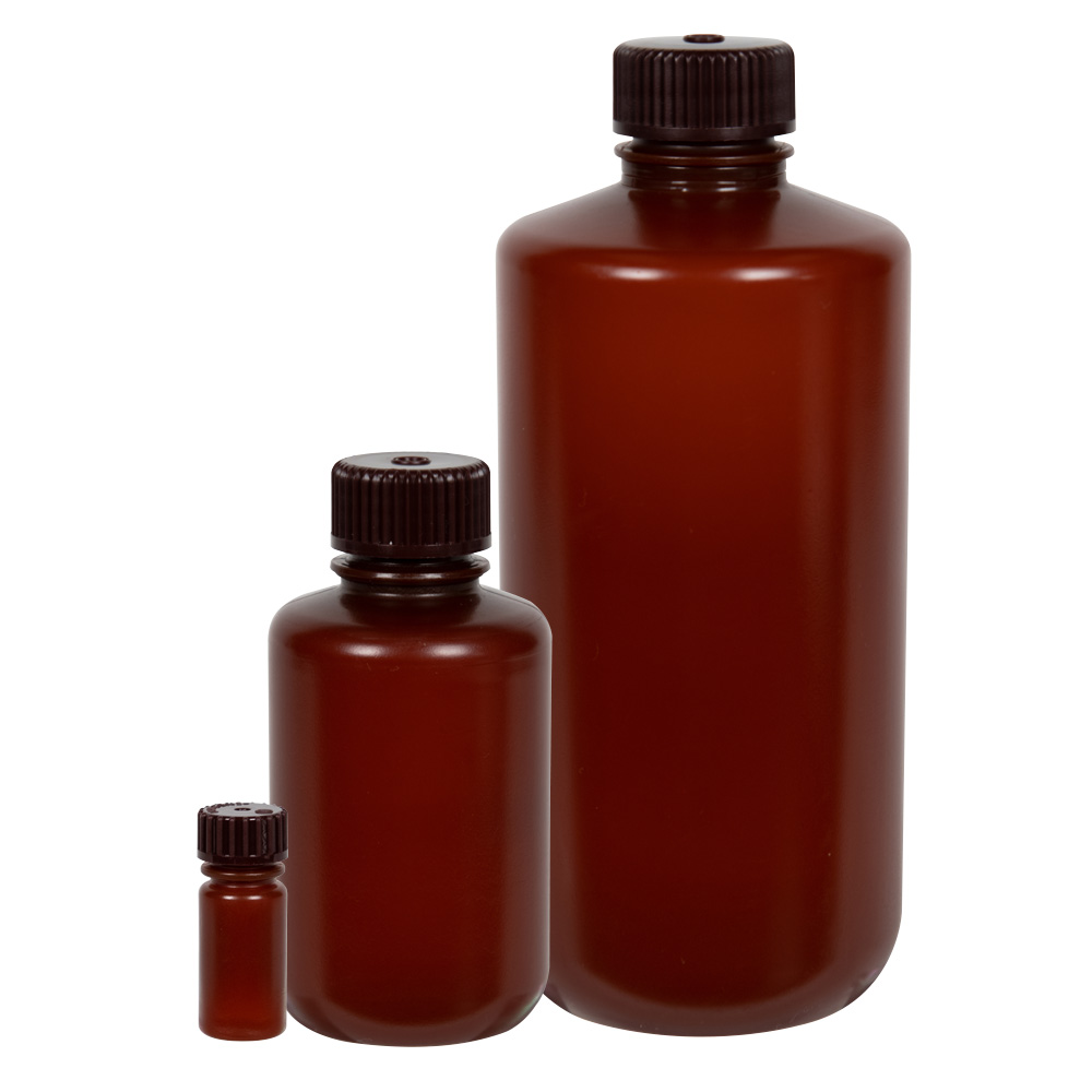 Thermo Scientific™ Nalgene™ Narrow Mouth Translucent Amber HDPE Packaging Bottles with Caps