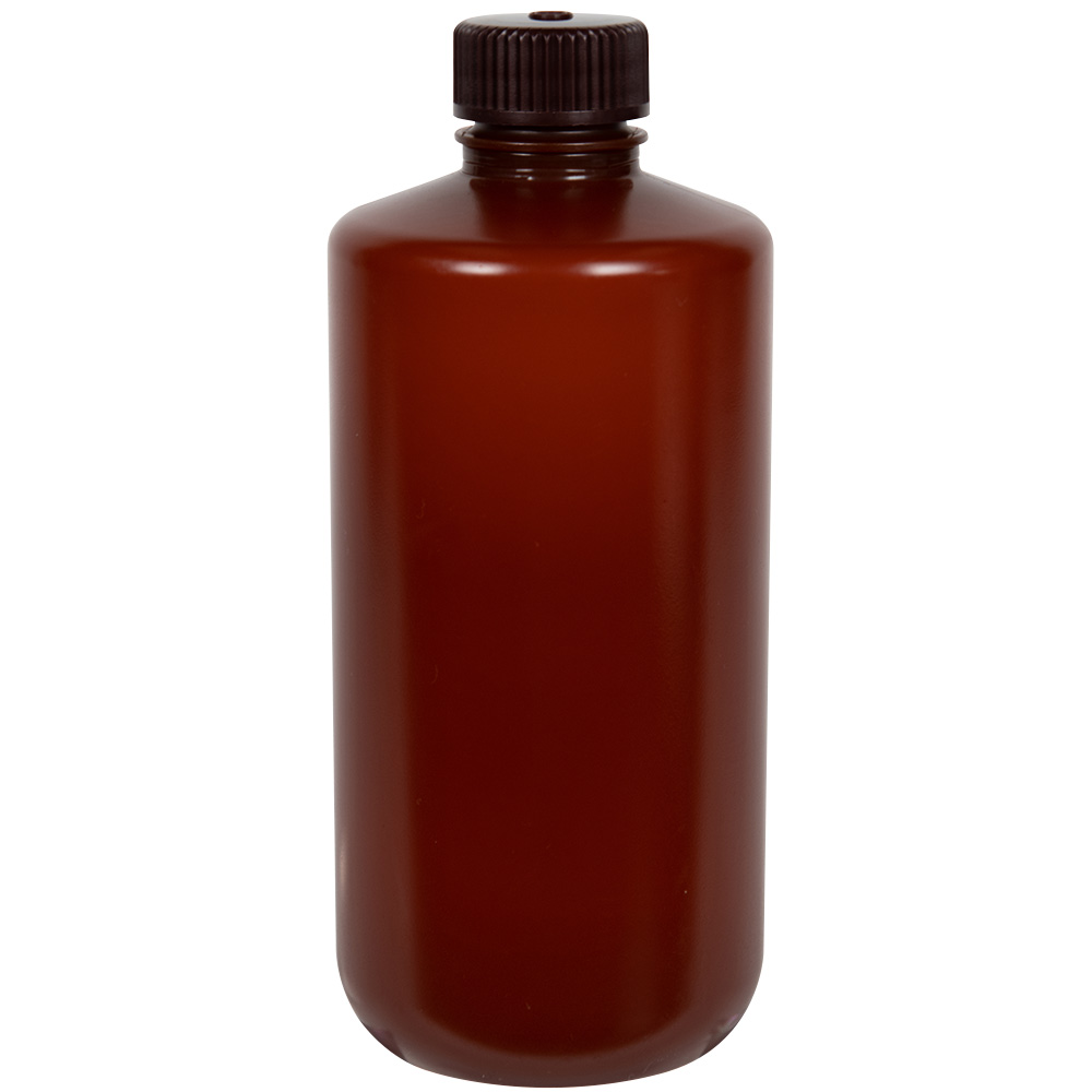 500mL Nalgene™ Narrow-Mouth Translucent Amber HDPE Bottle with 28/415 Cap