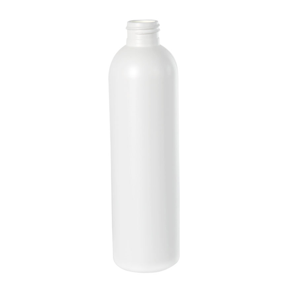 8 oz. HDPE White Cosmo Bottle 24/410 Neck  (Cap Sold Separately)