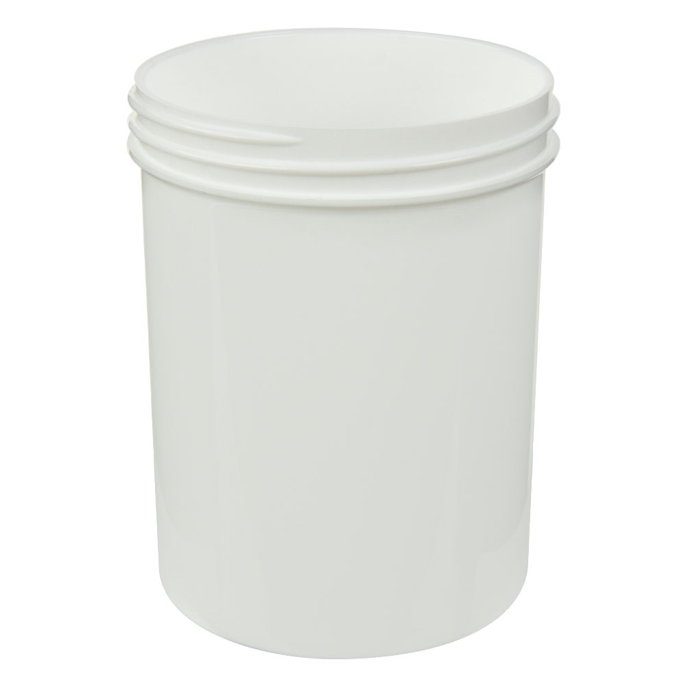 8 oz. Polypropylene Straight Sided White Jar with 70/400 Neck (Cap Sold Separately)