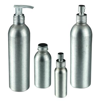 Brushed Aluminum Bottles, Caps, Sprayers & Pumps