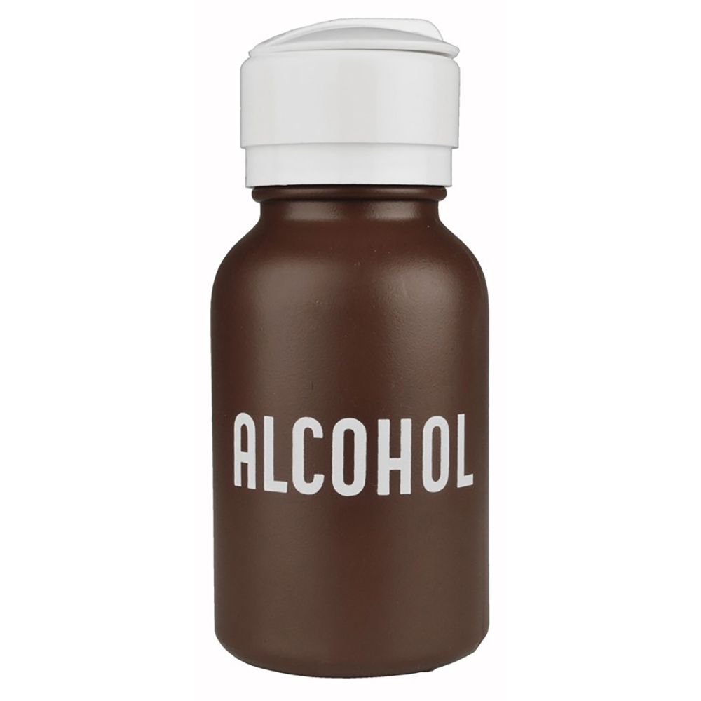 8 oz. Amber Round HDPE Alcohol Bottle with Pump
