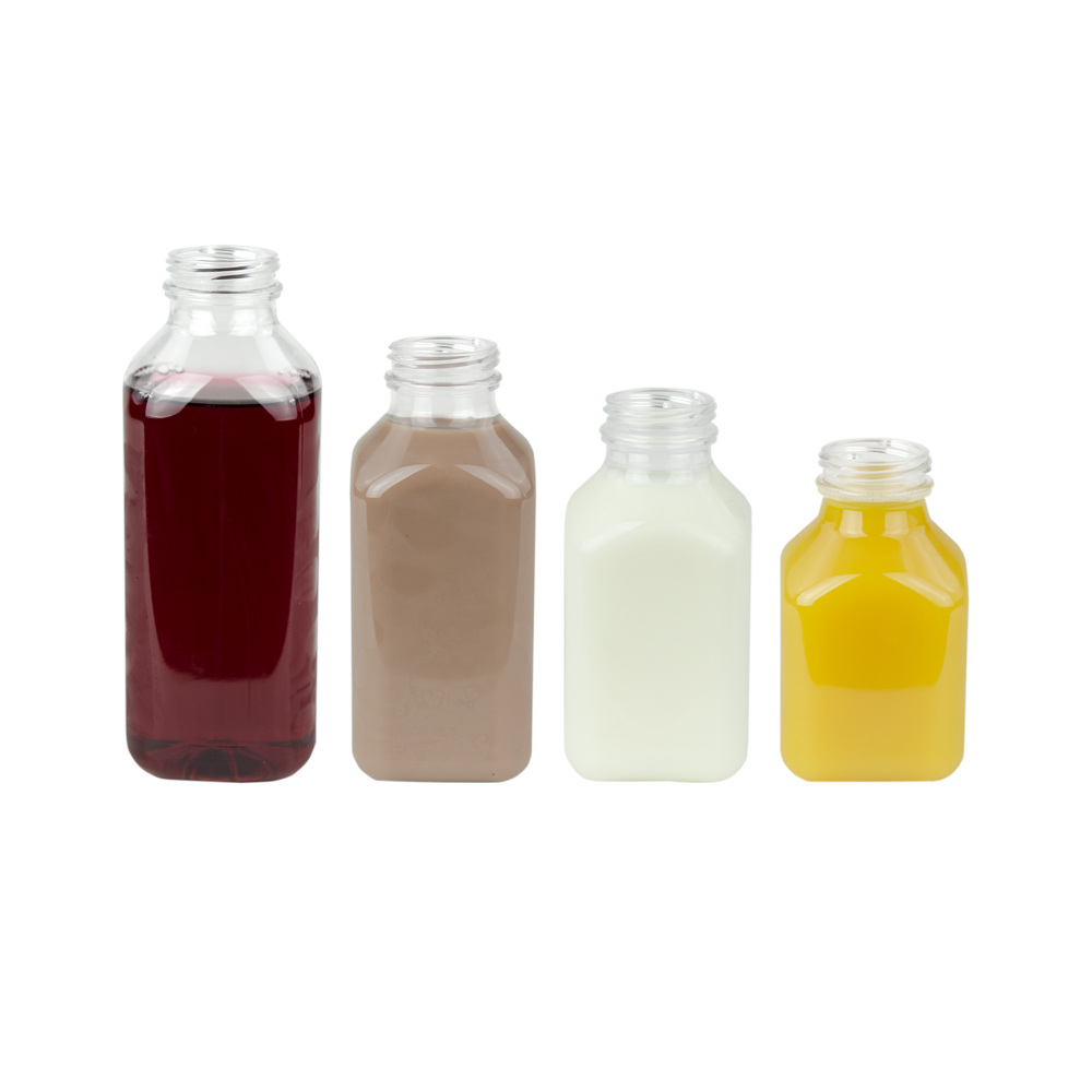 SQB Square PET Beverage Bottles & Caps