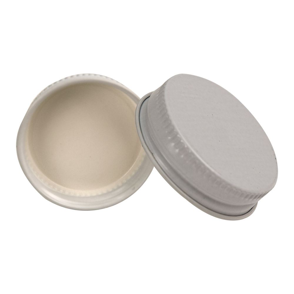 38/400 White Metal Cap with Plastisol Liner
