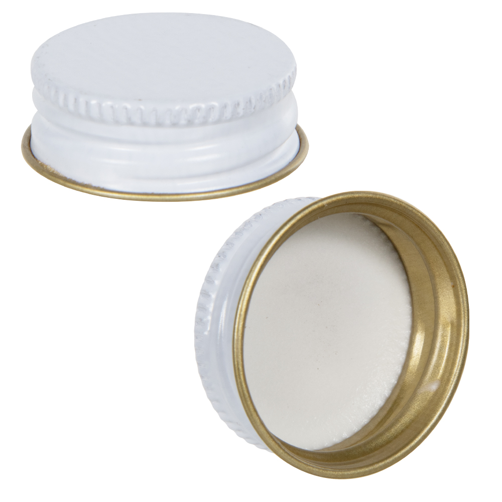 White & Gold Metal Caps with Plastisol Liners
