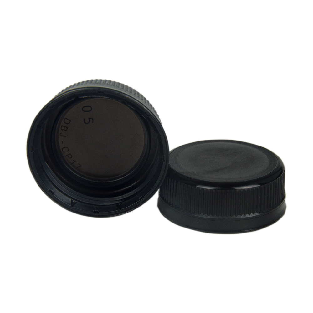 38mm DBJ Black HDPE Tamper Evident Screw Cap