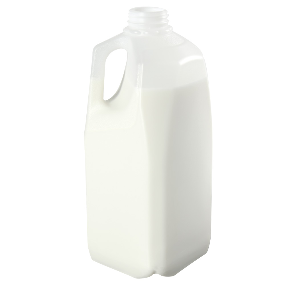 64 oz. HDPE Dairy Jug with Handle & 38mm DBJ Neck (Cap Sold Separately)
